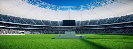 Stade par jour avec des escaliers de gagnant, ciel bleu rendu 3d Photographie stock libre de droits