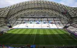 Stade Velodrome in Marseille, France. MARSEILLE, FRANCE - JUNE 21, 2016: Panoramic view of Stade Velodrome stadium before the UEFA EURO 2016 game Ukraine v Stock Photography