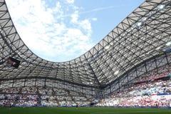 Stade Velodrome in Marseille, France. MARSEILLE, FRANCE - JUNE 21, 2016: Panoramic view of Stade Velodrome stadium before the UEFA EURO 2016 game Ukraine v Stock Photos