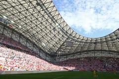 Stade Velodrome in Marseille, France. MARSEILLE, FRANCE - JUNE 21, 2016: Panoramic view of Stade Velodrome stadium before the UEFA EURO 2016 game Ukraine v Royalty Free Stock Images