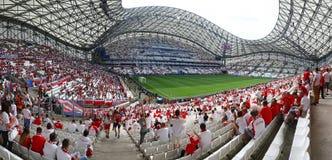 Stade Velodrome in Marseille, France. MARSEILLE, FRANCE - JUNE 21, 2016: Tribunes of Stade Velodrome before the UEFA EURO 2016 game Ukraine v Poland Royalty Free Stock Images