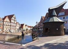Stade, vieux port et grue historique Image stock