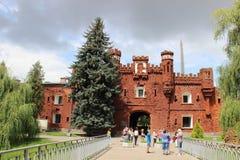 Staden av Brest i Vitryssland 'Brest fästningar Den Terespol porten arkivfoton