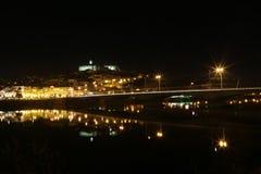 Staden av Coimbra på natten - Portugal Royaltyfri Foto