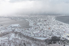 Staden av Hakodate, Hakodate, Hokkaido, Japan stadshorisont från Fotografering för Bildbyråer