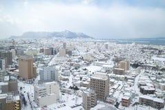 Staden av Hakodate i skymningen, panorama Arkivfoto
