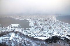 Staden av Hakodate i skymningen, panorama Royaltyfri Fotografi
