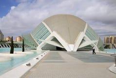 Staden av konster och vetenskaper planlade vid den Santiago Calatrava arkitekten i Valencia, Spanien arkivfoto