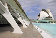 Staden av konster och vetenskaper planlade vid den Santiago Calatrava arkitekten i Valencia, Spanien royaltyfria bilder