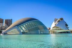 Staden av konster och vetenskaper, Valencia, Spanien - Hemisfericen och den palauiska den les Konst Fotografering för Bildbyråer