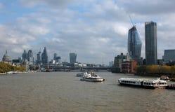 Staden av konstruktion för ström för london finansiell områdesvisning Fotografering för Bildbyråer