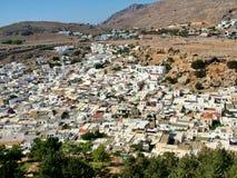 Staden av Lindos i Rhodes Royaltyfria Bilder