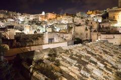 Staden av Matera i sydliga Italien Arkivfoton
