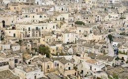 Staden av Matera i sydliga Italien Arkivbild