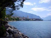 Staden av Montreux på sjöGenève royaltyfri foto