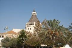 Staden av Nazareth ett järnekställe för alla kristen arkivbild