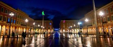 Staden av Nice - förlägga Massena på natten Fotografering för Bildbyråer