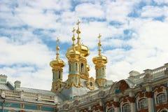 Staden av Pushkin, Catherine Palace, dragning, de guld- kupolerna Royaltyfri Foto