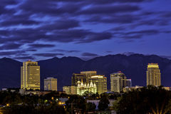 Staden av Salt Lake City i morgonen Arkivbilder