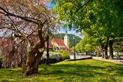 Staden av Samobor parkerar och kyrktar Fotografering för Bildbyråer