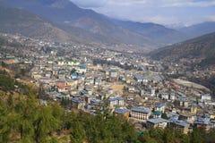 Staden av Thimphu, Bhutan Arkivfoton