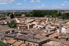 Staden av Toledo med dess vallar i Spanien arkivbild