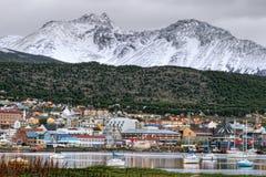 Staden av Ushuaia i Tierra Del Fuego Arkivbilder