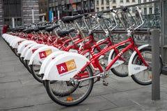 Staden cyklar för hyra i Antwerp Belgien Royaltyfri Bild