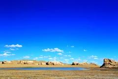 Staden för vattenYardang jäkel, landformen för yardang för vatten för världs` s den unika Arkivfoton
