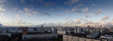 Staden landskap - en panorama av southwesten av Moscow. Ryssland Arkivbild