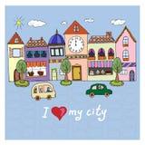 staden älskar jag mitt illustration Arkivbilder