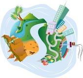 Staden och landet Vektor Illustrationer
