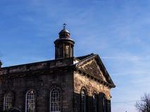 Staden och militärmuseet, en detalj av den fina arkitekturen i Lancaster England i mitten av staden arkivbild
