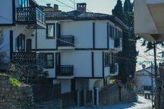 Staden Ohrid - gamla hus Royaltyfri Fotografi