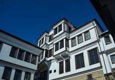 Staden Ohrid - gamla hus Fotografering för Bildbyråer