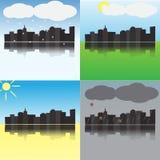Staden på olika tider av året Arkivfoto