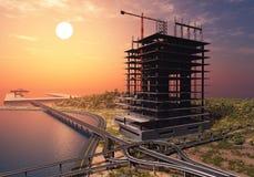 Staden på solnedgången stock illustrationer