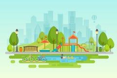 Staden parkerar den stads- utomhus- dekoren, parkerar beståndsdelar och gränder royaltyfri illustrationer