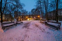 Staden parkerar i vinter på natten Royaltyfria Bilder