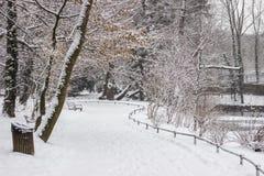 Staden parkerar Maksimir Zagreb, vinter Arkivbilder