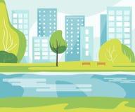Staden parkerar med floden stock illustrationer