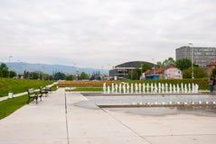 Staden parkerar med springbrunnen Royaltyfria Foton