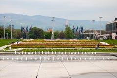 Staden parkerar med springbrunnen Arkivfoton