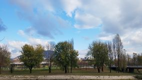 Staden parkerar med tre träd arkivbilder
