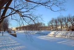 Staden parkerar på en kall dag i vinter Fotografering för Bildbyråer
