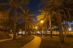 Staden parkerar på natten i Ashdod Royaltyfri Bild