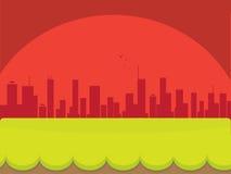 Staden parkerar på solnedgången Arkivbilder