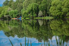 Staden parkerar sjön reflekterar träden royaltyfria bilder