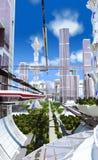 staden som framtida hus lokaliserade våra bytande ut framställningsspheres, spikes dem Royaltyfri Foto