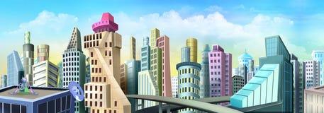 staden som framtida hus lokaliserade våra bytande ut framställningsspheres, spikes dem Royaltyfria Foton